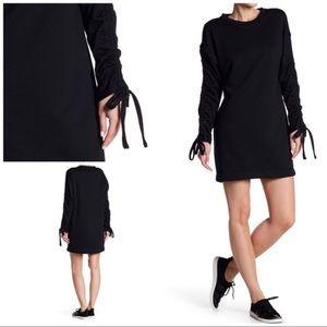 Lush 🌵 Black ruched drawstring Sleeve mini dress